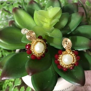 HANDMADE Red And Gold 🌺 Crystal Earring